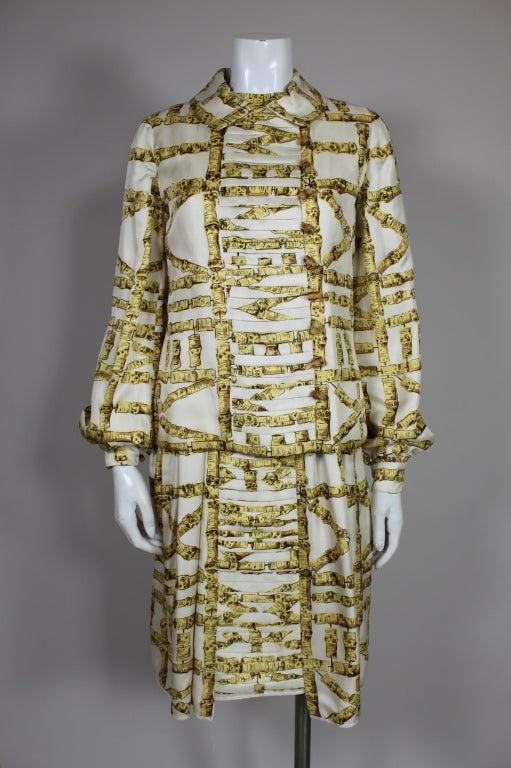 1960's Donald Brooks Bamboo Print Silk Dress with Jacket 6