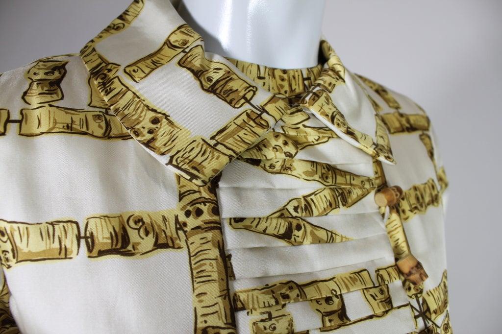 1960's Donald Brooks Bamboo Print Silk Dress with Jacket 7