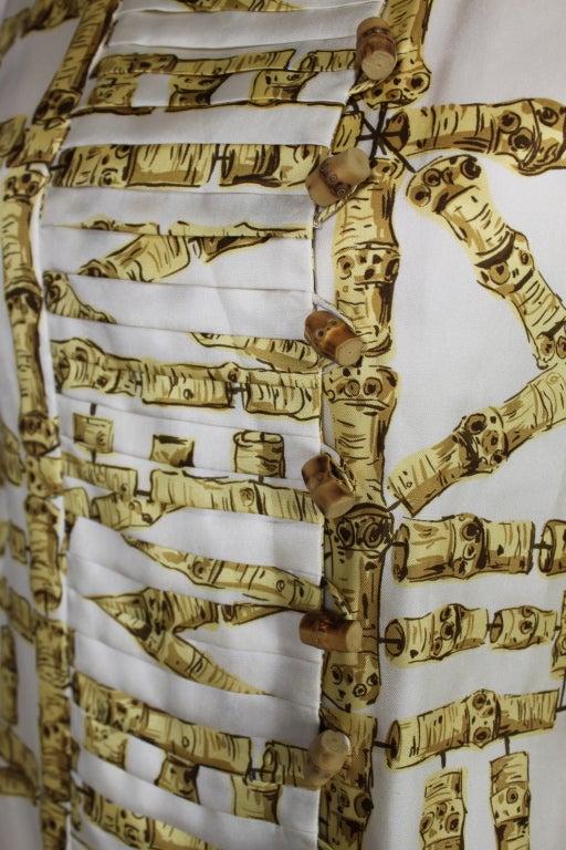 1960's Donald Brooks Bamboo Print Silk Dress with Jacket 8