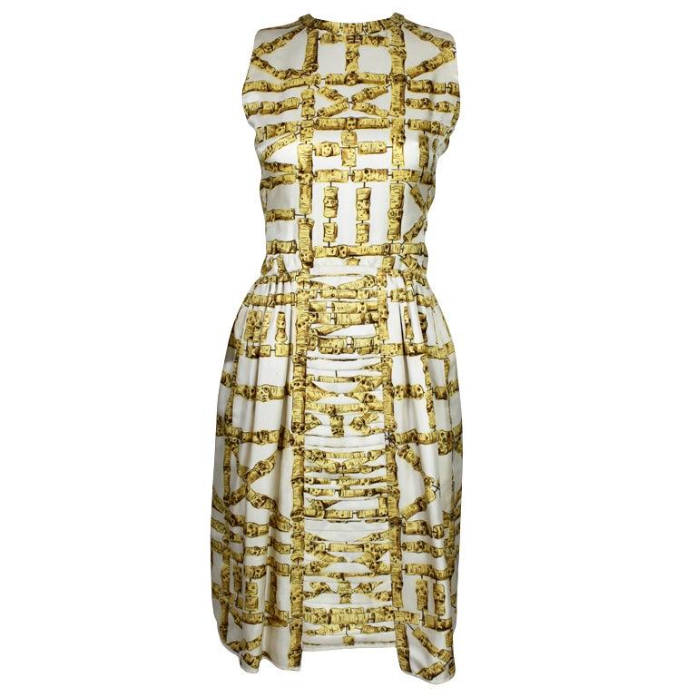 1960's Donald Brooks Bamboo Print Silk Dress with Jacket 1