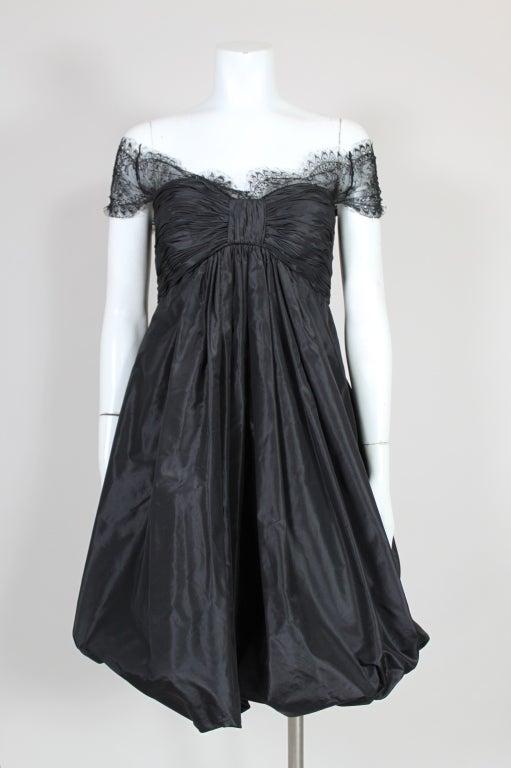 Oscar De La Renta Silk Taffeta and Lace Cocktail Dress 3