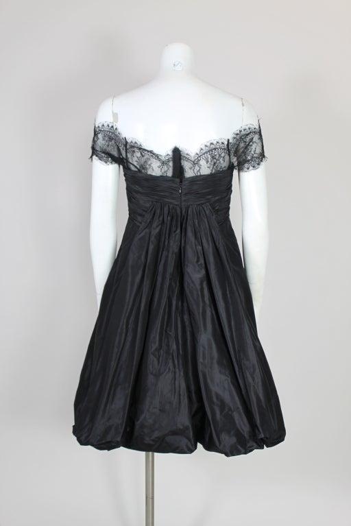 Oscar De La Renta Silk Taffeta and Lace Cocktail Dress 6