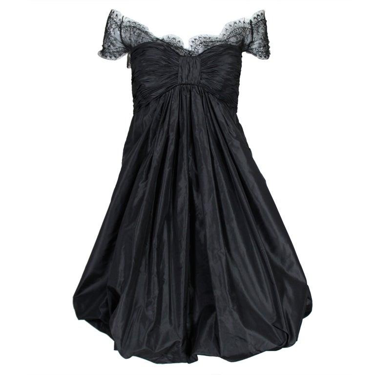 Oscar De La Renta Silk Taffeta and Lace Cocktail Dress 1