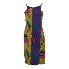1970's Issey Miyake Celestial Ikat Cotton Wrap Dress