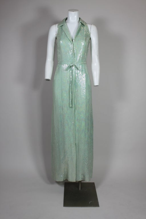 1970's Halston Seafoam Green Sequined Mermaid Gown 2