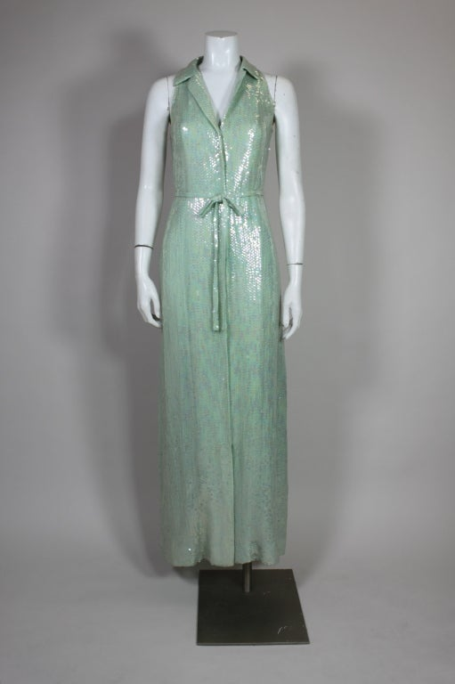 1970's Halston Seafoam Green Sequined Mermaid Gown 3