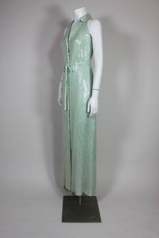 1970's Halston Seafoam Green Sequined Mermaid Gown 4