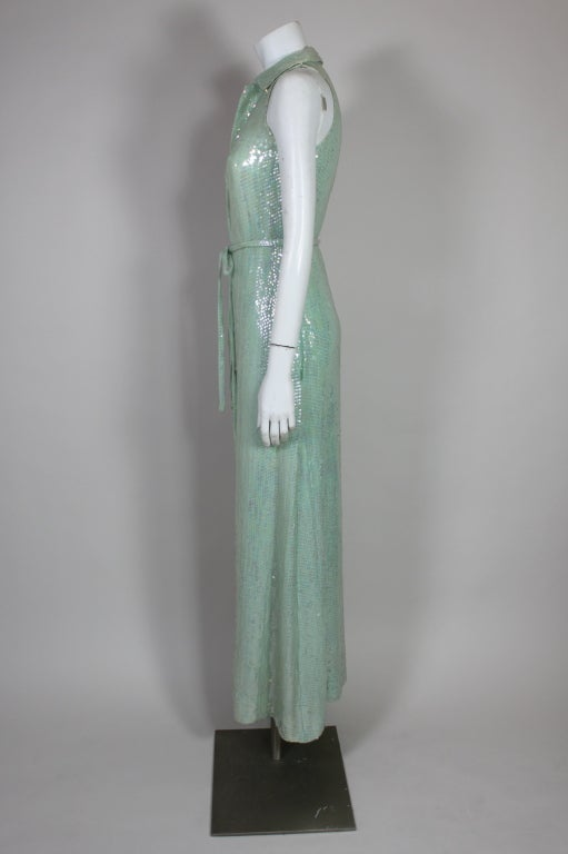 1970's Halston Seafoam Green Sequined Mermaid Gown 5