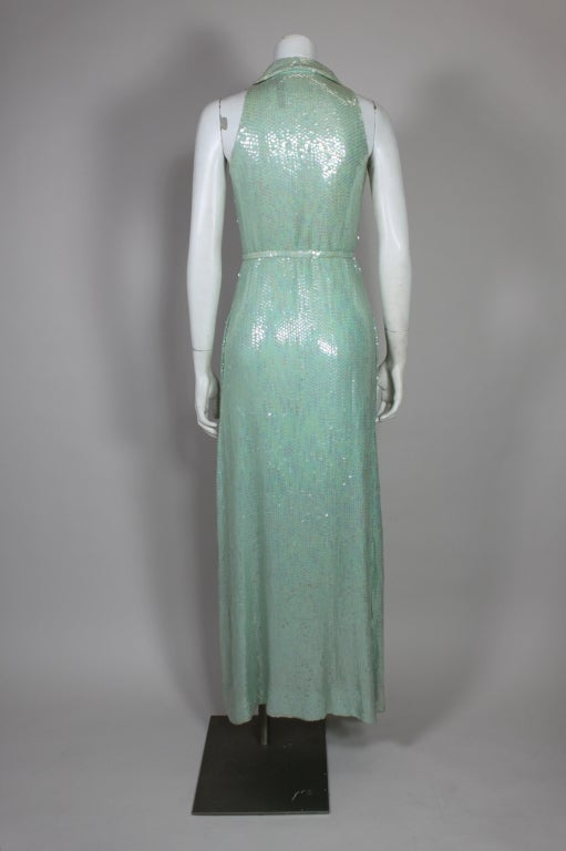 1970's Halston Seafoam Green Sequined Mermaid Gown 6