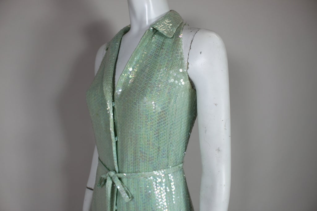 1970's Halston Seafoam Green Sequined Mermaid Gown 7