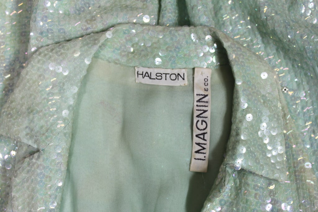 1970's Halston Seafoam Green Sequined Mermaid Gown 8