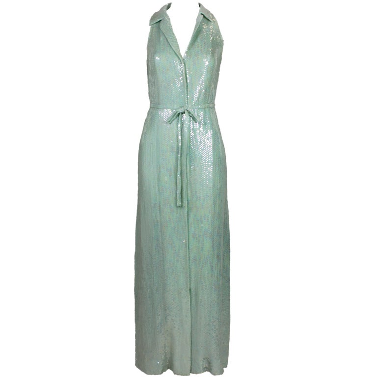 1970's Halston Seafoam Green Sequined Mermaid Gown 1