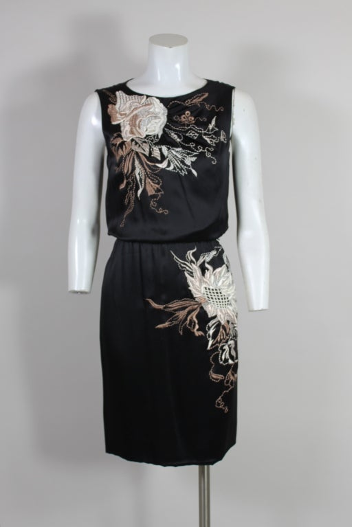Valentino 1990s Silk Embroidered Cocktail Dress 2