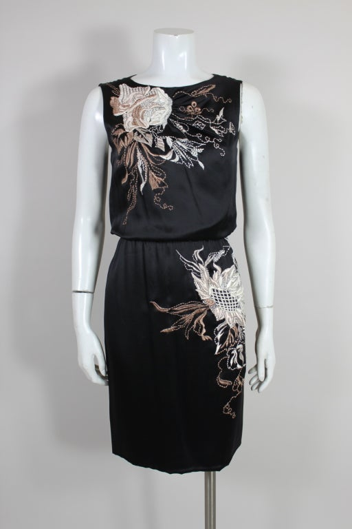 Valentino 1990s Silk Embroidered Cocktail Dress 3