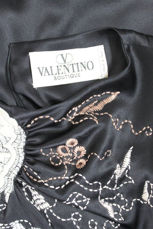 Valentino 1990s Silk Embroidered Cocktail Dress 9