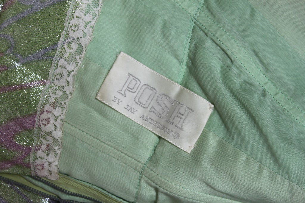 1960s Mint Green Metallic Lamé Empire Waist Strapless Gown 10
