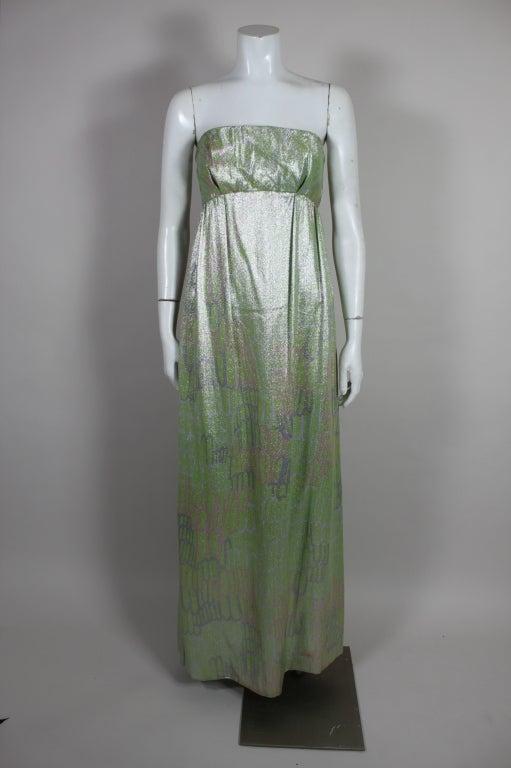 1960s Mint Green Metallic Lamé Empire Waist Strapless Gown 2