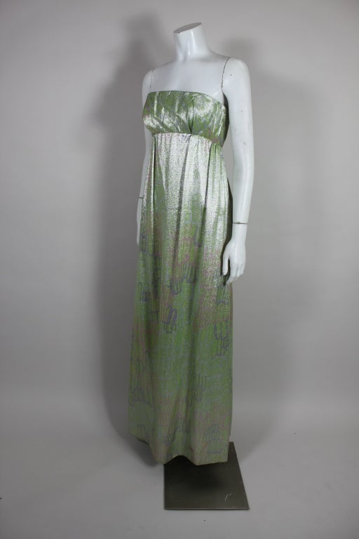 1960s Mint Green Metallic Lamé Empire Waist Strapless Gown 3