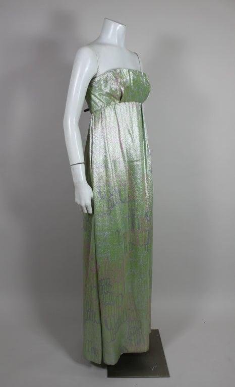 1960s Mint Green Metallic Lamé Empire Waist Strapless Gown 4