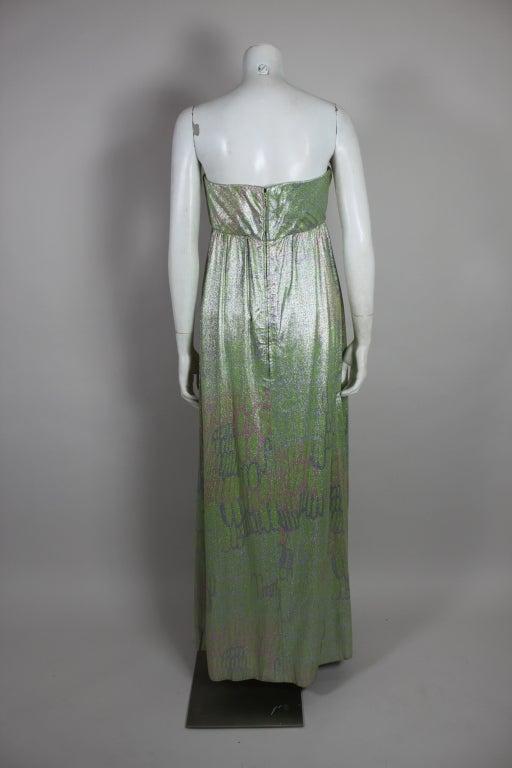 1960s Mint Green Metallic Lamé Empire Waist Strapless Gown 5