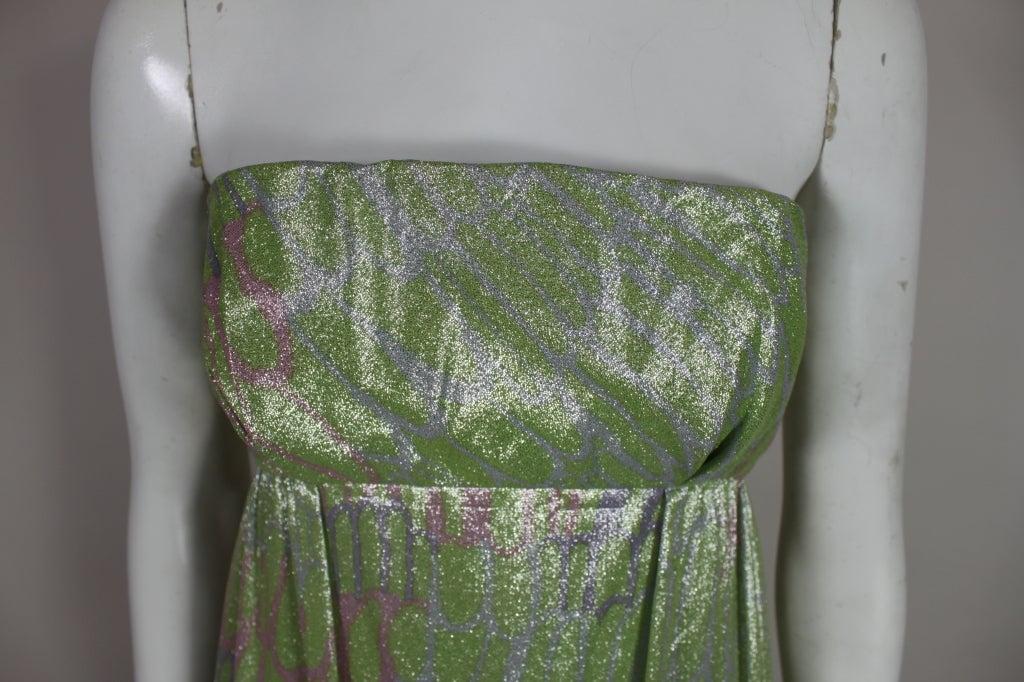 1960s Mint Green Metallic Lamé Empire Waist Strapless Gown 6