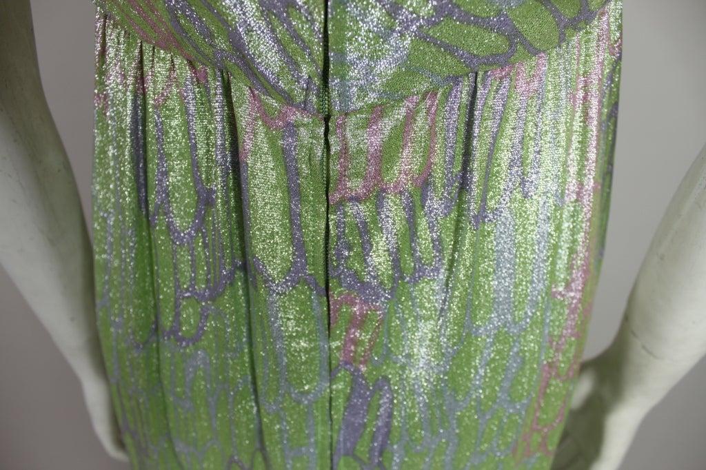 1960s Mint Green Metallic Lamé Empire Waist Strapless Gown 7