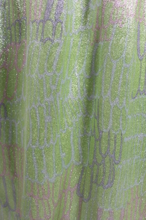 1960s Mint Green Metallic Lamé Empire Waist Strapless Gown 8