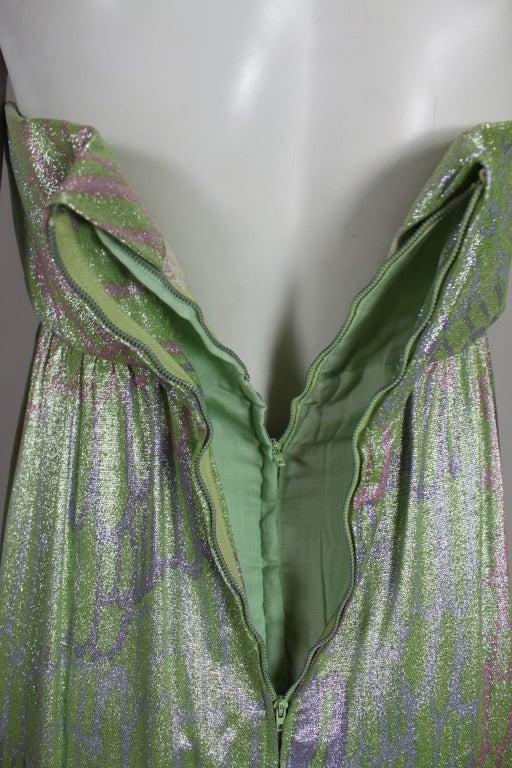 1960s Mint Green Metallic Lamé Empire Waist Strapless Gown 9