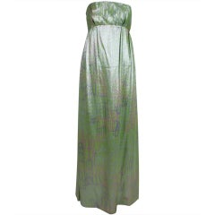 1960s Mint Green Metallic Lamé Empire Waist Strapless Gown