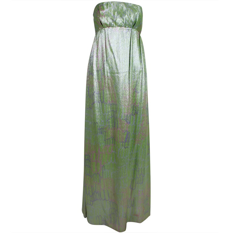 1960s Mint Green Metallic Lamé Empire Waist Strapless Gown 1