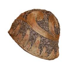 1920's Metallic Lamé Cloche Hat