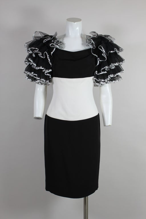 1980's CHANEL Black and White Party Dress with Ruffles 2