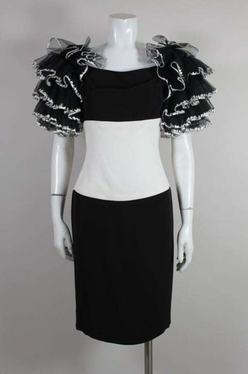 1980's CHANEL Black and White Party Dress with Ruffles 3