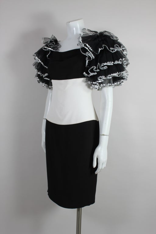 1980's CHANEL Black and White Party Dress with Ruffles 4