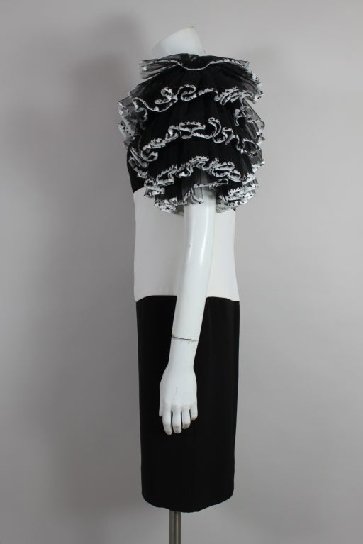 1980's CHANEL Black and White Party Dress with Ruffles 5