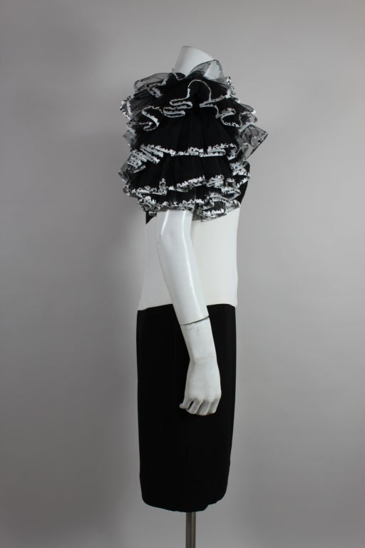 1980's CHANEL Black and White Party Dress with Ruffles 6