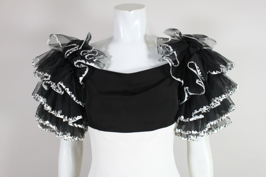 1980's CHANEL Black and White Party Dress with Ruffles 7