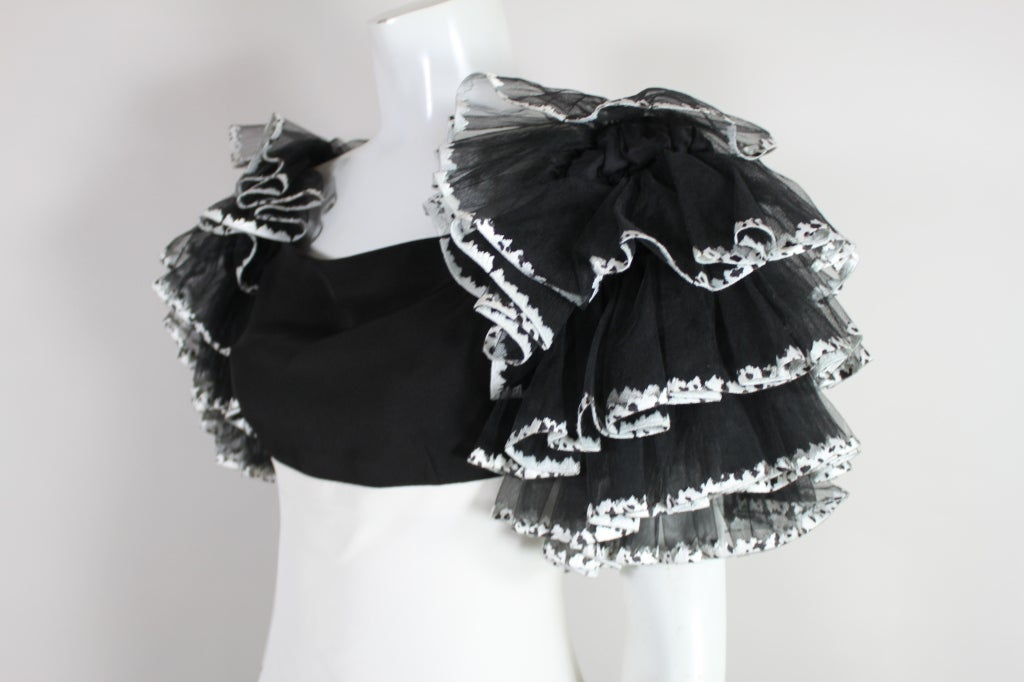 1980's CHANEL Black and White Party Dress with Ruffles 8