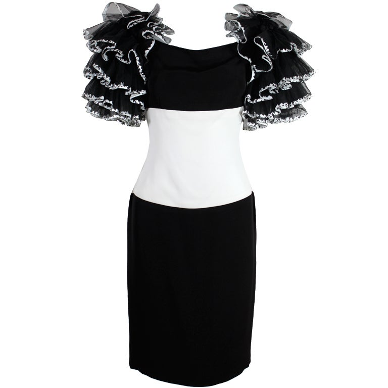 1980's CHANEL Black and White Party Dress with Ruffles 1
