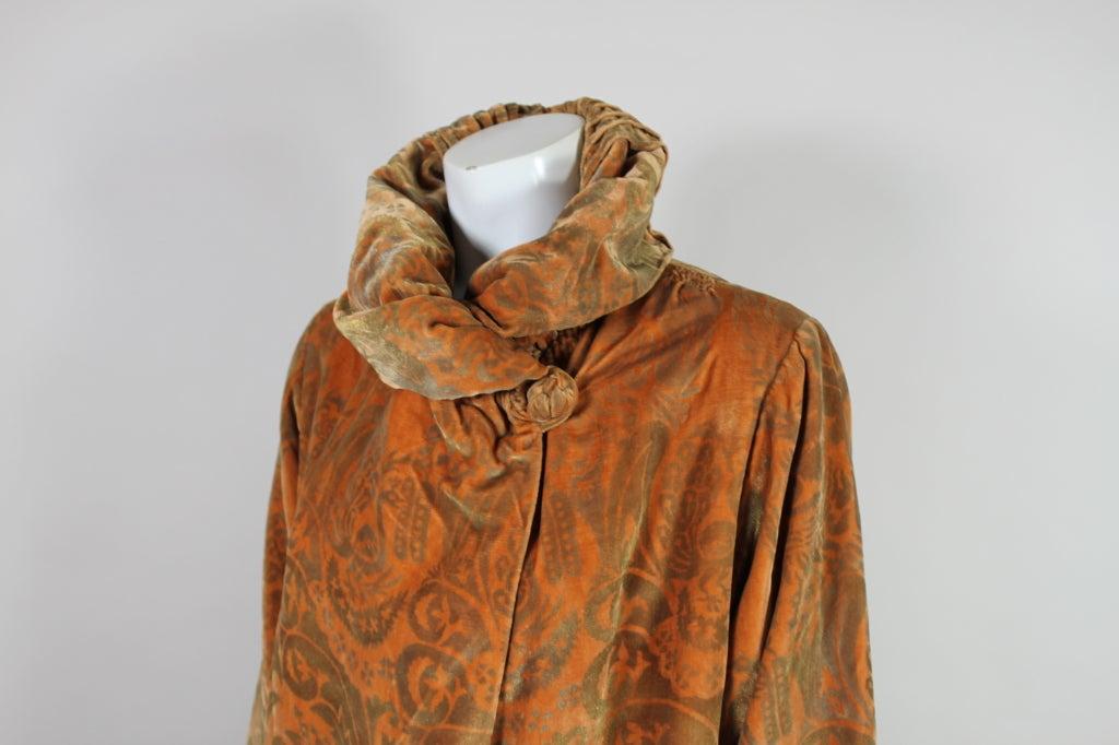1920's Gallenga Stenciled Silk Velvet Coat 6