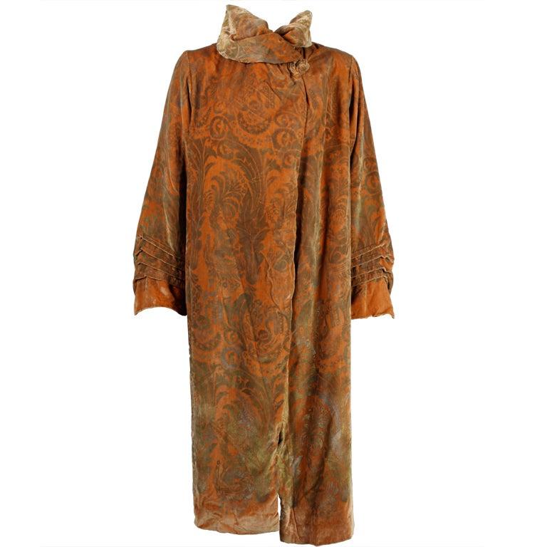 1920's Gallenga Stenciled Silk Velvet Coat 1