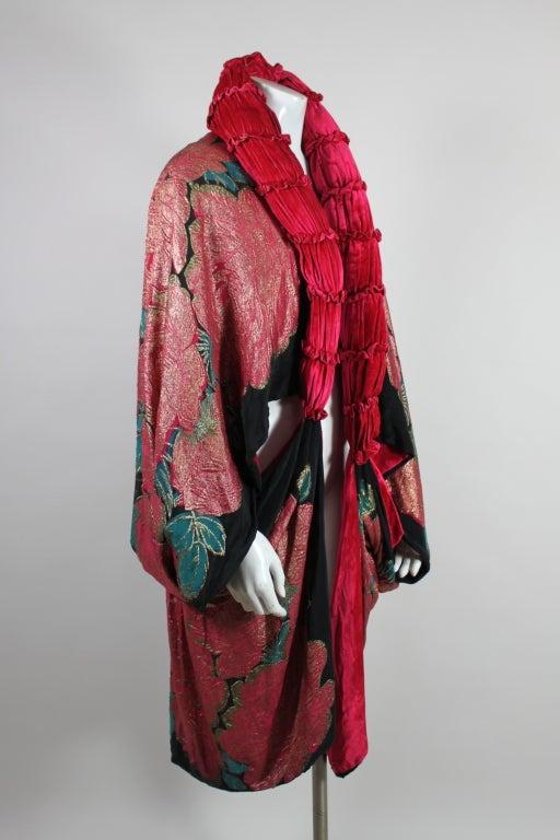 1920 S Art Deco Metallic Lam 233 Rose Coat At 1stdibs