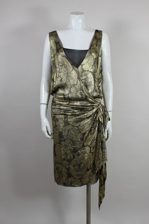 1920s Gold Lamé Floral Flapper Party Dress 2