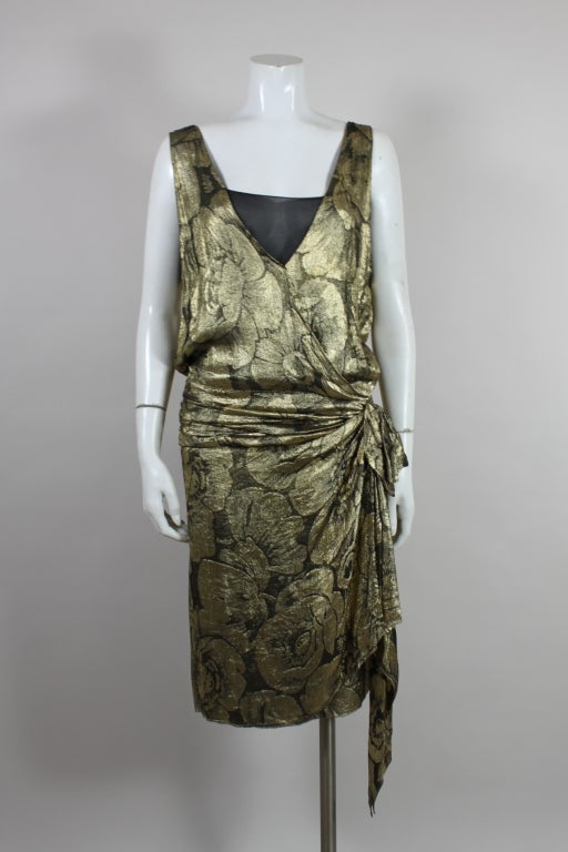 1920s Gold Lamé Floral Flapper Party Dress 3