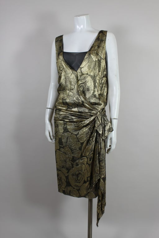 1920s Gold Lamé Floral Flapper Party Dress 4