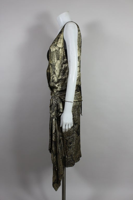 1920s Gold Lamé Floral Flapper Party Dress 5