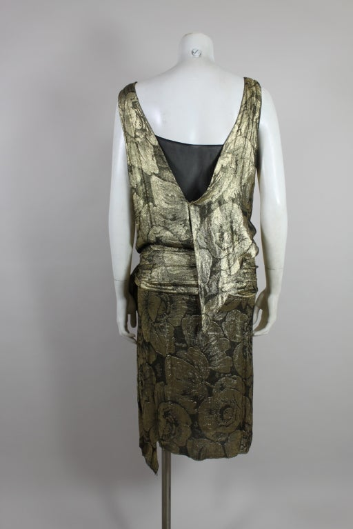 1920s Gold Lamé Floral Flapper Party Dress 6