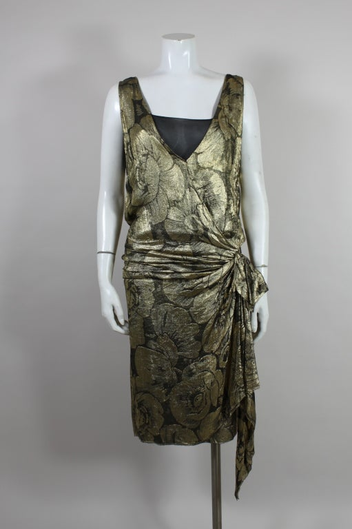 1920s Gold Lamé Floral Flapper Party Dress 7