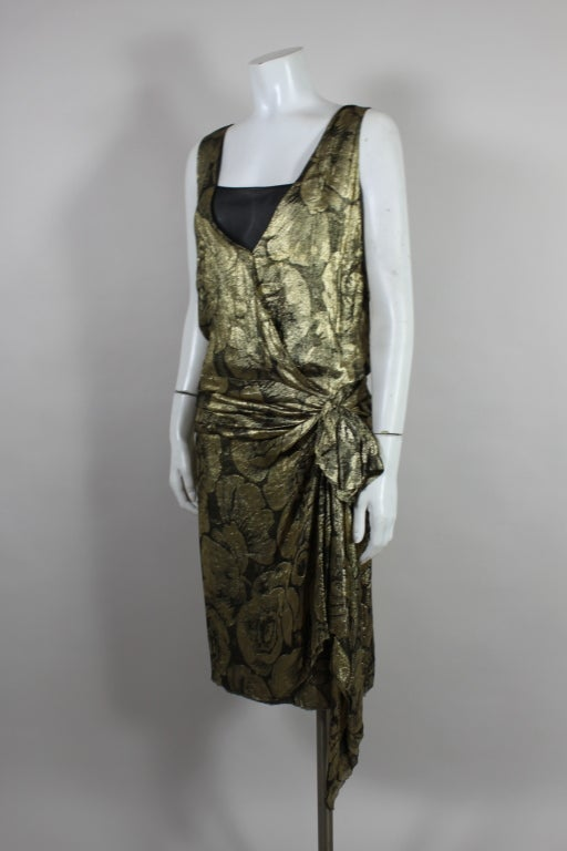 1920s Gold Lamé Floral Flapper Party Dress 8