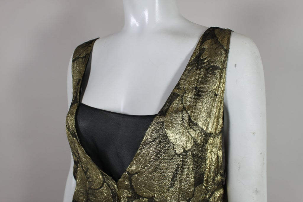 1920s Gold Lamé Floral Flapper Party Dress 9